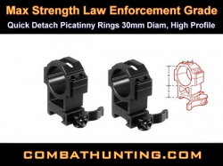 Quick Detach Picatinny Rings 30mm High Profile