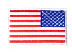 "Reversed U.S. Flag Patch White Border 2"" X 3"""