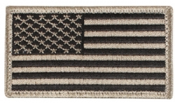 Khaki And Black American Flag Patch With Hook Loop