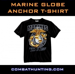 Marine Globe & Anchor T-Shirt Black Ink Design