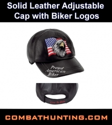 Proud American Biker Leather Cap