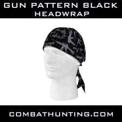 Gun Pattern Headwrap Black