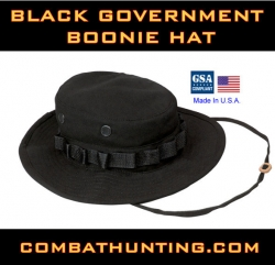 Boonie Hat Black Goverment Size 7.75