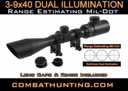 Leapers UTG 3-9X40 Mil-dot Scope Red & Green Illuminated
