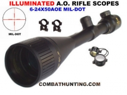 6-24X50 AOE Mil-dot Rifle Scope & Ring Illuminated