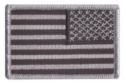 "Reverse Black And Silver Us Flag Patch 2"" X 3"""