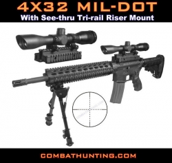 SKS 4X32 Mil-dot Scope With Tri Rail Riser Mount