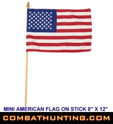"8"" X 12"" Miniature American Flag On Stick"