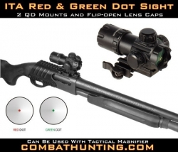 Tactical Shotgun Red Green Dot Sight QD CQB