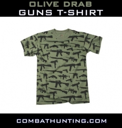 Olive Drab Guns Print T-Shirt