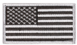 Silver And Black American Flag Patch Hook Loop