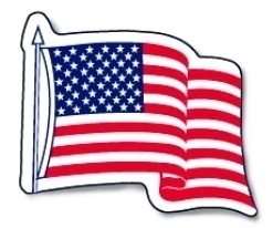 "Big American Flag Decal - Sticker 12"" x 18"""