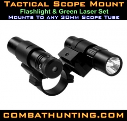 Green Laser Sight & Flashlight 30mm Scope Mount