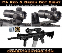 "UTG 3.9"" ITA Red Green Dot Sight QD"