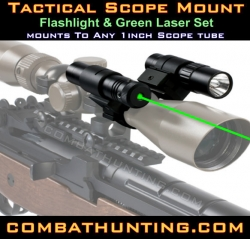 Green Laser Sight And Flashlight With Scope Mount