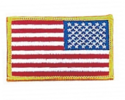 "Reverse American Flag Patch Yellow Border 2"" X 3"