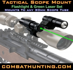 Green Laser Sight And Flashlight 30mm Scope Mount