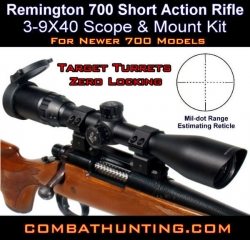 Remington 700 Short Action Rifle Scope & Mount Kit