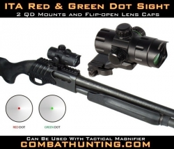 Tactical Shotgun Red Green Dot Sight QD CQB 32mm