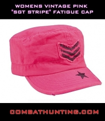 Womens Vintage Pink Sgt Stripe Fatigue Cap