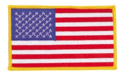 "U.S. Flag Patch Gold border 2"" x 3"" Iron On / Sew On"