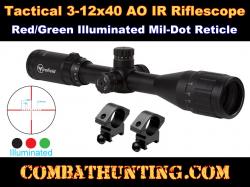 Firefield 3-12x40mm Illuminated Reticle Mil-dot Scope
