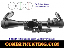 4-16x44 Rifle Scope With Cantilever Mount P4 Sniper Glass Etched Reticle