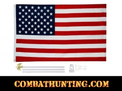 United States American Flag and Pole Kit 5' x 3'