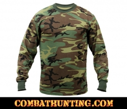 Woodland Camo Long Sleeve Military T-Shirt