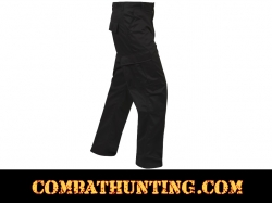 Black Relaxed Fit Zipper Fly BDU Pants