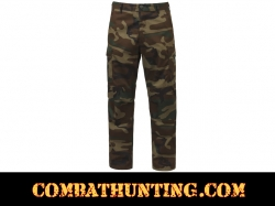 Woodland Camo Relaxed Fit Zipper Fly BDU Pants