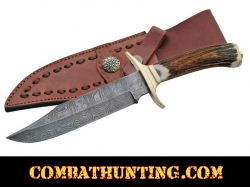 "Damascus Steel Bowie Hunting Knife 11"" With Stag Horn Handle"