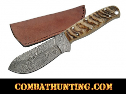 Damascus Steel Hunting Knife With Ram Horn Handle