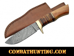 Damascus Steel Hunting Knife With Stacked Leather & Olive Wood Handle