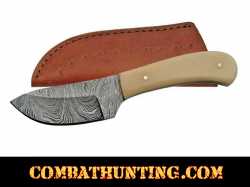 "Damascus Steel Skinner Knife 6"" With Bone Handle"