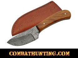 "6"" Damascus Steel Skinner Knife With Olive Wood Handle"