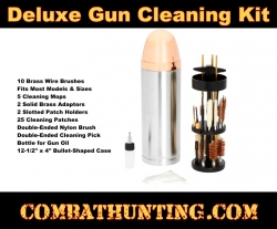 Deluxe Gun Cleaning Kit in Stainless Steel Bullet-Shaped Case