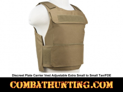Discreet Plate Carrier Vest Adjustable Extra Small to Small Tan/FDE