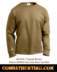 Rothco ECWCS Poly Crew Neck Top Shirt AR 670-1 Coyote Brown