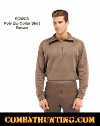 Rothco ECWCS Poly Zip Collar Shirt Top Brown