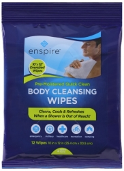 "Enspire 10"" x 12"" Body Cleansing Wipes"