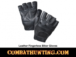 Black Leather Fingerless Biker Gloves Padded Palm