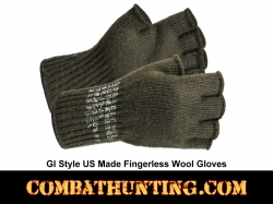 Military GI Fingerless Wool Gloves Made USA OD