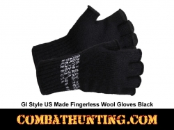 Military GI Fingerless Wool Gloves Made USA Black