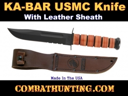 Genuine USMC Combo Edge Ka-Bar Fighting Knife