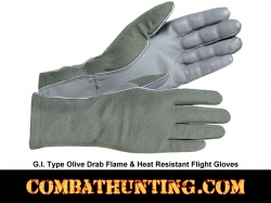 G.I. Type Flame & Heat Resistant Flight Gloves Olive Drab