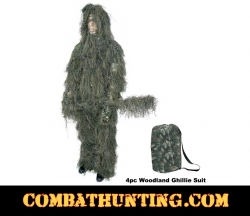 Ghillie Suit Woodland Camouflage 4pc Set
