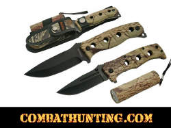 Hunters camouflage Knife Set With Sheath and Led Flashlight