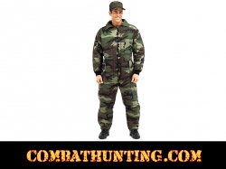 Woodland Camouflage Outdoor Cold Weather Hunting Insulated Coveralls
