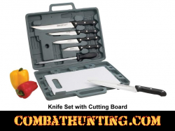 Knife Set with Cutting Board and Case